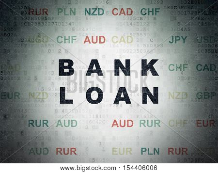 Banking concept: Painted black text Bank Loan on Digital Data Paper background with Currency
