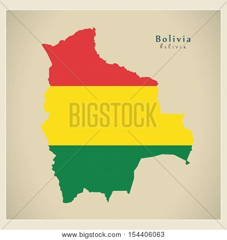 Modern Map - Bolivia colored BO illustration vector