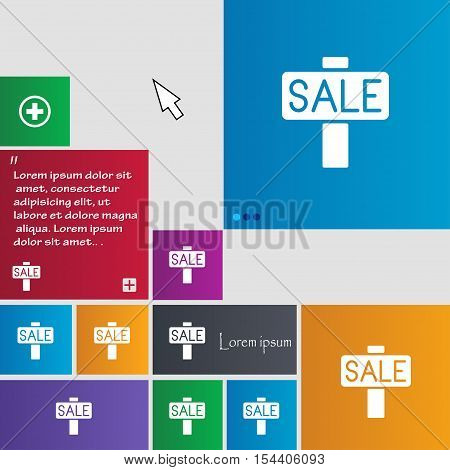 Sale, Price Tag Icon Sign. Buttons. Modern Interface Website Buttons With Cursor Pointer. Vector