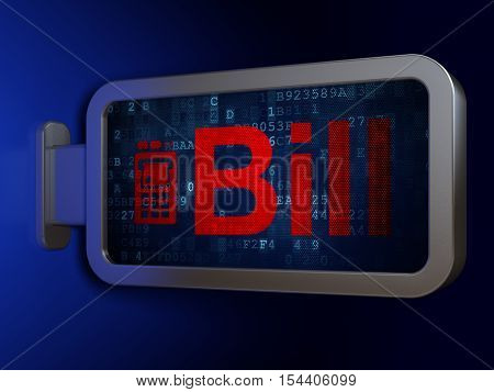 Banking concept: Bill and ATM Machine on advertising billboard background, 3D rendering