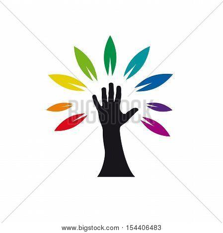 Vector logo rainbow tree with hand, isolated illustration