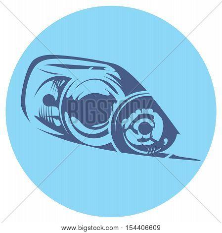 monochromatic illustration of a car headlight. Mazda