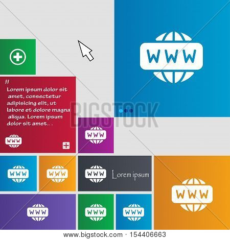 Www Icon Sign. Buttons. Modern Interface Website Buttons With Cursor Pointer. Vector