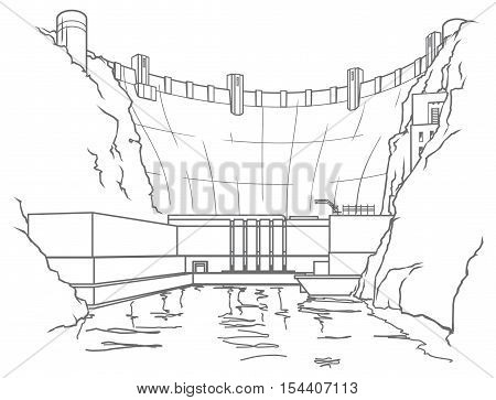 Outline illustration of a hydroelectric dam generating power and electricity with falling water