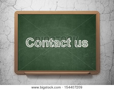 Finance concept: text Contact us on Green chalkboard on grunge wall background, 3D rendering