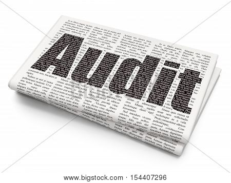 Business concept: Pixelated black text Audit on Newspaper background, 3D rendering