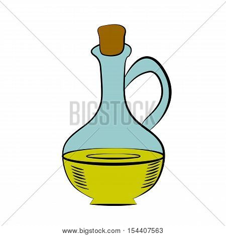 Jug glass of liquid with cork stopper. Olive oil. Hand drawn design element. Vintage black illustration. Isolated on white background.