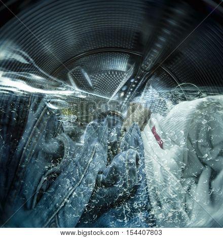 Internal view of a washing machine during wash