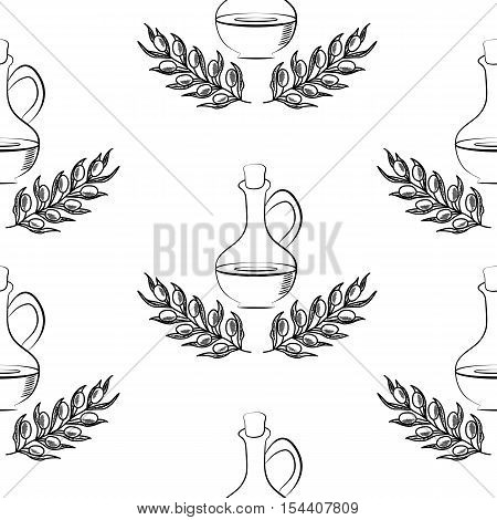 Jug glass of Olive oil with cork stopper and branch with leaves. Hand drawn design element. Vintage illustration, decorative frame. Isolated on white background, seamless pattern