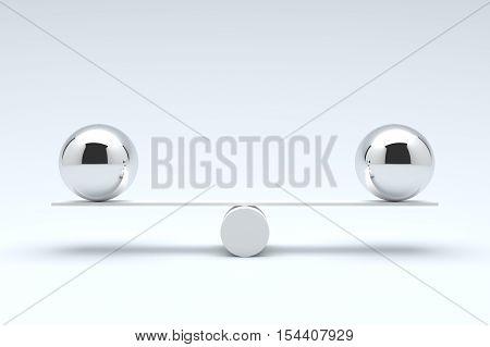 Balls balancing, Balanced concept, Metal balls on plank. 3D illustration