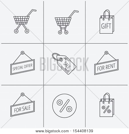 Shopping cart, gift bag and sale coupon icons. Special offer label linear signs. Discount icon. Linear icons on white background. Vector
