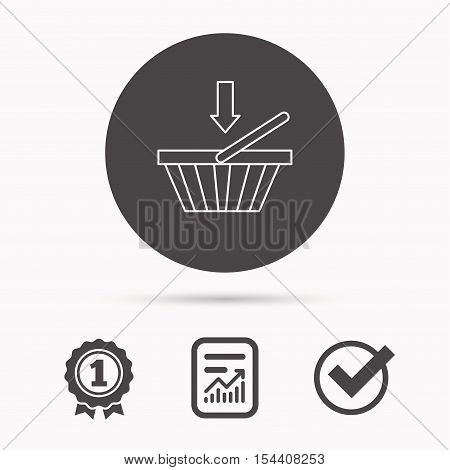 Shopping cart icon. Online buying sign. Report document, winner award and tick. Round circle button with icon. Vector