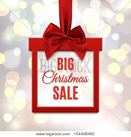 Big Christmas sale, square banner in form of  gift with red ribbon and bow, on blurred bokeh background. Brochure, greeting card or banner template. Vector illustration.