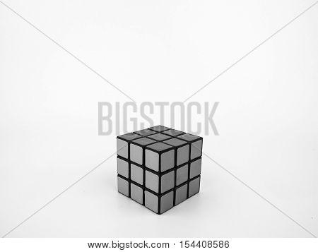 Bangkok Thailand - October 27th 2016: Rubik's cube in black and white