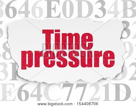 Timeline concept: Painted red text Time Pressure on Torn Paper background with  Hexadecimal Code