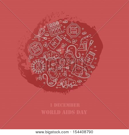 World Aids Day. Vector illustration. Prevention of HIV AIDS.