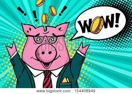 Wow face.Happy piggy bank in a suit and glasses smiles with hands raised gold coins flying around and wow speech bubble. Vector illustration in pop art retro comic style.