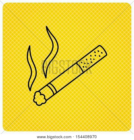 Smoking allowed icon. Yes smoke sign. Linear icon on orange background. Vector