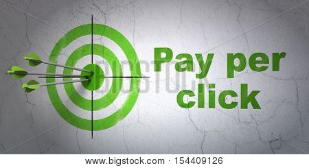 Success advertising concept: arrows hitting the center of target, Green Pay Per Click on wall background, 3D rendering
