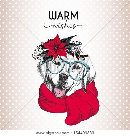 Vector portrait of Christmas dog. Labrador retriever dog wearing poinsettia wreath sunglasses and scarf. Christmas poster flyer greeting card holiday celebration party pet shop decoration