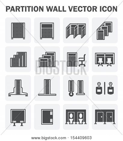 Vector icon of partition wall for divide space of room.