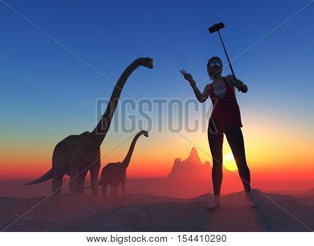 Girl makes a photo with a dinosaur.3d render