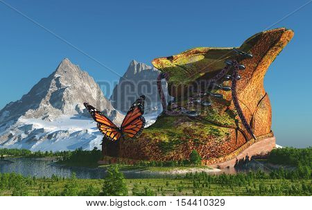 The Shoe and butterfly on the green lanshaft.,3d render