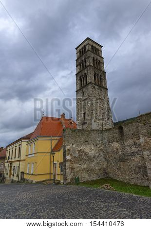 Tower of Franciscan Monastery of Saint Luke by grey day in Jajce, Bosnia and Herzegovina