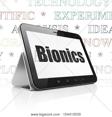 Science concept: Tablet Computer with  black text Bionics on display,  Tag Cloud background, 3D rendering