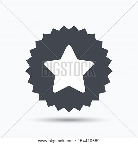 Star icon. Favorite or best sign. Web ranking symbol. Gray star button with flat web icon. Vector