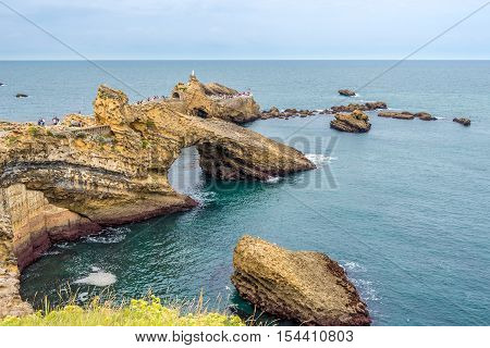 BIARRITZ,FRANCE - AUGUST 31,2016 - View at the Rocher de la Vierge in Biarritz. Biarritz is a city on the Bay of Biscay on the Atlantic coast in the Pyrenees-Atlantic department.