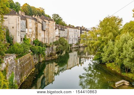 OLORON SAINTE MARIE,FRANCE - AUGUST 31,2016 - River Gave Aspe in Oloron Sainte Marie. Town is situated at the feet of the Pyrenees 50 km from the Spanish border and 100 km from the Atlantic ocean.