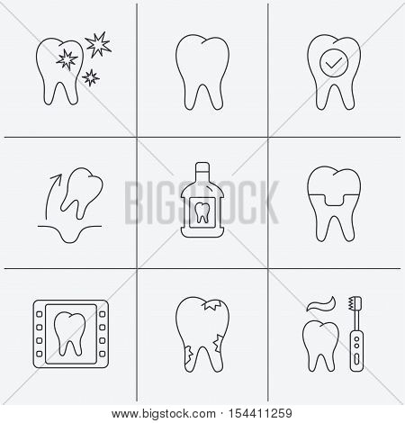 Tooth, dental crown and mouthwash icons. Caries, tooth extraction and hygiene linear signs. Brushing teeth flat line icon. Linear icons on white background. Vector