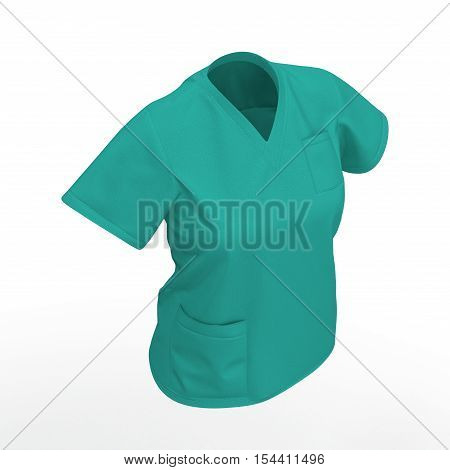 Medical workers clothes isolated on white background. 3D illustration