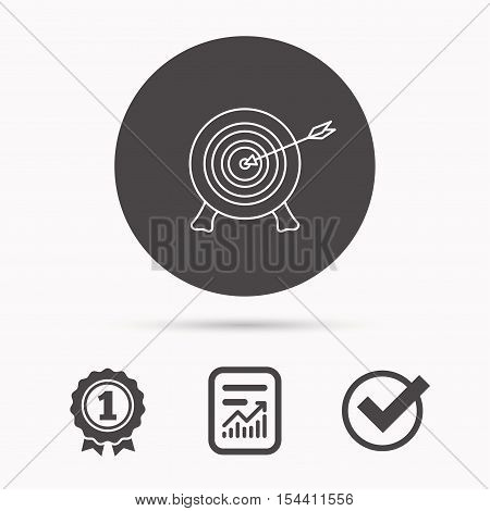 Target with arrow icon. Archery aiming sign. Professional shooter sport symbol. Report document, winner award and tick. Round circle button with icon. Vector