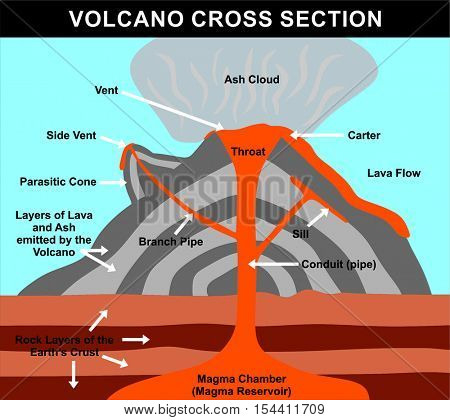 Vector Volcano Cross Section - including all parts: magma chamber, reservoir, rock layers of earth crust, conduit, branch pipe, sill, side vent, carter, throat, lava flow, ash cloud, & parasitic cone