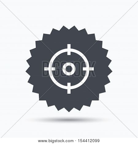 Target icon. Crosshair aim symbol. Gray star button with flat web icon. Vector