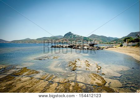 Fisheye view part of Skyros island Sporades Greece with interesting geological features at the beach