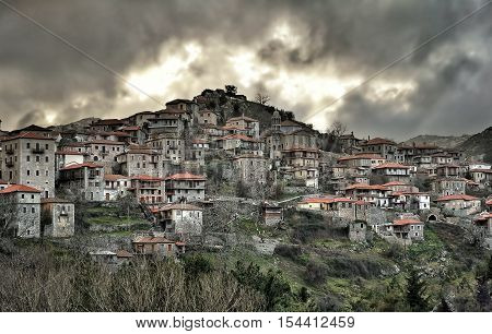 Panoramic view of a beautiful mountain village named DimitsanaPeloponesseGreece