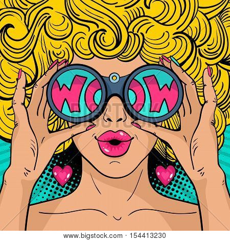 Wow Pop Art Face. Sexy Surprised  Woman With Blonde Curly Hair And Open Mouth Holding Binoculars In