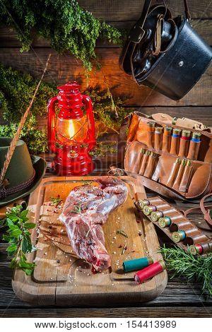 Fresh Venison Prepared For Roasting In Forester Lodge