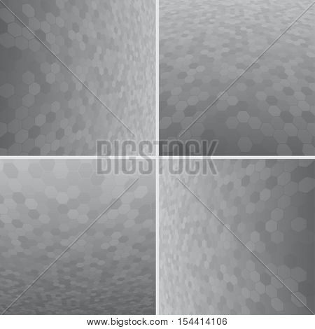 Set Abstract Honeycomb Halftone Effect Vector Background. Perspective Halftone Vector Background. Vector Background with Copy-Space. Grey Perspective Background. Vector illustration for Web Design.