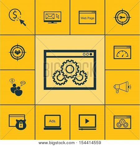Set Of Marketing Icons On Video Player, Seo Brainstorm And Media Campaign Topics. Editable Vector Il