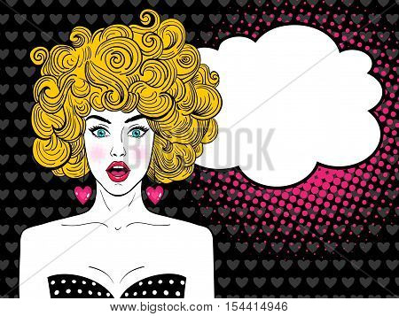 Wow Pop Art Female Face. Sexy Surprised Woman With Open Mouth, Blonde Curly Hair And Speech Bubble.