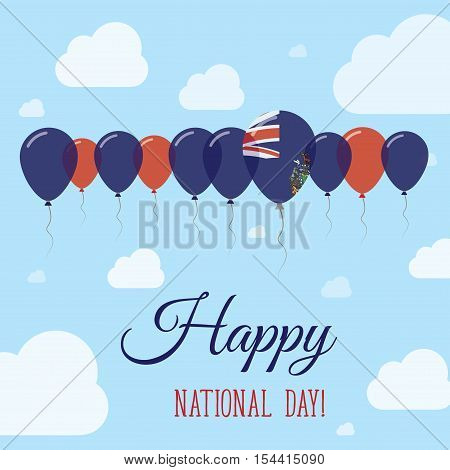 South Georgia And The South Sandwich Islands National Day Flat Patriotic Poster.. Row Of Balloons In