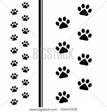black animal paw prints isolated on white