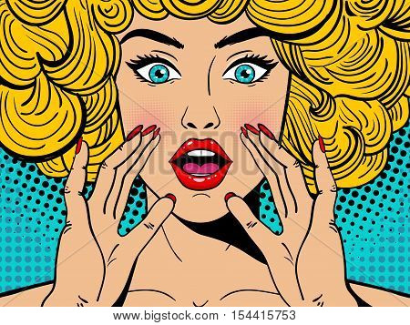 Sexy Surprised Blonde Pop Art Woman With Wide Open Eyes And Mouth And Rising Hands Screaming. Vector