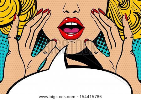 Sexy Surprised Blonde Pop Art Woman With Open Mouth And Rising Hands Screaming Announcement. Vector