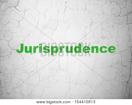 Law concept: Green Jurisprudence on textured concrete wall background