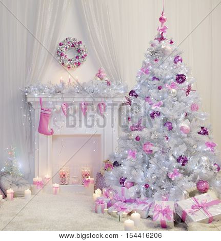 Christmas Tree Interior Xmas Fireplace in Pink Decorated Indoors Fantasy Room
